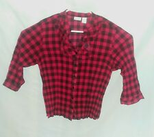 Kim Rogers Red Black Plaid Size XL Stretchy Long Sleeve Button Front Blouse Top