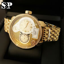 Mens Hip Hop Gold Plated Iced Out Bling Big Face Two Time Zone Metal Band Watch