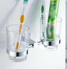 Bathroom Bath Toothbrush Holder Dual Glass Cup Storage Shelf Wall Mounted Hanger