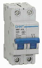 Chint Double Pole (2 Pole) MCBs - B,C and D Curve - 1Amp to 63Amp - 6ka