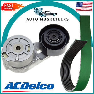 AcDelco Heavy Duty Belt & Tensioner For 94-02 Dodge Ram 5.9L Cummins With A/C