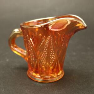 Vintage Sowerby 1940s Marigold Carnival Glass Milk Jug Creamer 'Split Diamond'