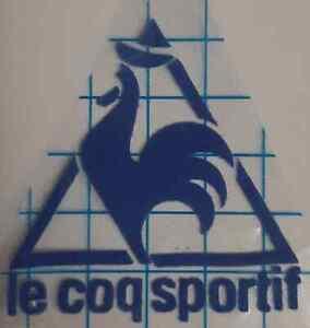 Blue Retro Le coq Sportif Logo Flocked Vinyl Press on clothing football shirt
