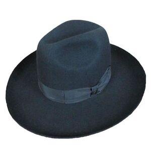 Israel Jewish Hat Wool Hasidic Jews Wide Brim Fedora Cap Black Felt