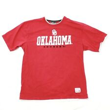 Colosseum Mens Red OU Oklahoma T-shirt Patchwork Throwback Spell Out VINTAGE Tee