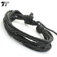 STYLISH TT BLACK Cotton Rope Bracelet Wristband LB169