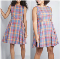 ModCloth Something Sixties Plaid Jumper Dress Sleeveless cotton linen Size 6 NWT