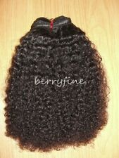 12-inch Virgin Mongolian Kinky Curl/Curly Human Hair Weft Extensions - Natural