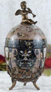 Porcelaine Boîte œ Uf Bronze Bonbonnière à Bijoux Ange Coffret Antique