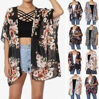 TheMogan Women & Plus Floral Kimono Cardigan Loose Shawl Chiffon Beach Cover Up