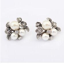 Antique Silver Metal Crystal Flower Leaves White Pearl Beads Ear Stud Earrings