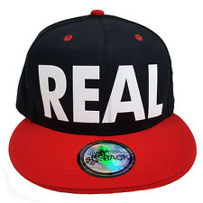 REAL (FLOCK) Black/Red Snapback Cap