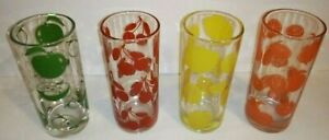 """Vtg Glass Tumblers Set Of 4 Different Colorful Fruit Design  5 1/2"""" Tall 9.4 oz."""