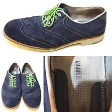 Johnston Murphy Flex System Blue Suede Lace Up Oxford Green Trim Shoes 8 M