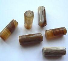 Gemstone Dyed Agate Column Brown & Cream Shades 20x8mm Tubes x 6 beads