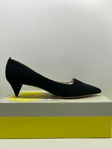 Boden Kitten Heel Court Leather Shoes Suede 3, 4, 5, 6, 7, 8 & 9 Black Yellow Br
