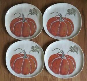 "NEW Threshold 10"" dinner plates Pumpkin Melamine set 4 Fall Autumn Thanksgiving"