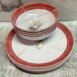 Tommy Bahama Set of 4 Dinner Plates and Bowls Melamine Red and White Farmhouse