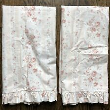 Ralph Lauren Heartland Floral Curtains Drapes Cafe 34x65 Cottage Pink Pole Clips
