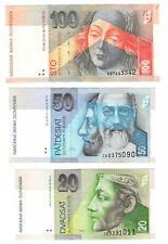 SLOVAKIA Set 20, 50 100 Korun aXF-AU Banknotes (1997-1999) P-44 P-20c, 21c, 25b