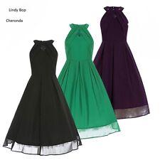 Lindy Bop Retro Vintage 50s Cheronda Evening  Cocktail Cut Out Dress 8/26