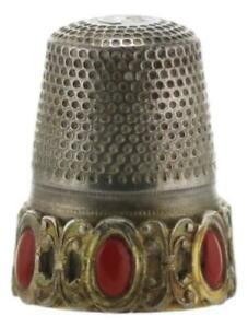 Sterling Silver Gilt Thimble 800 Florence ITALY Coral Colour Cabochons