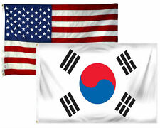 3x5 3'x5' Wholesale Combo Set USA American & South Korea 2 Flags Flag