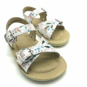 Start-rite Soft Harper Floral Print Girls  Leather Buckle Sandals