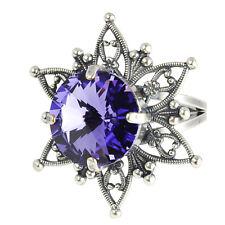 Grevenkämper Ring Silber Swarovski Kristall Blume Rivoli Rund Tanzanite lila