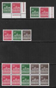 GERMANY - 1966/68 - BRANDENBURG GATE - SELECTION BOOKLET STAMPS - UM / MNH