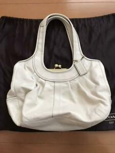 COACH Shoulder Bag Gamaguchi White Plaid Women's From Japan Genuine USED