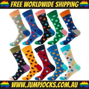 10x Pairs Of Rainbow Spotted Socks - Cotton, Dress *FREE WORLDWIDE SHIPPING*