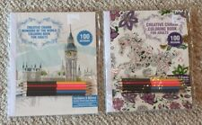 Lot Of 2 New Architecture & Animals Adult Coloring Books w/ Pencils BN Grown Up