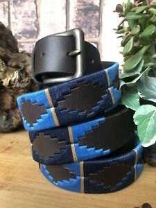 Gaucho Argentina Leather belt Hand embroidered Polo Belt 3.5 mm thick Premium UK