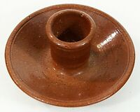 "Art Pottery Single Candle Holder for Taper Candle 4"" Diam. 2.5"" Tall EUC"