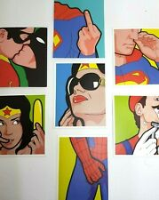 Superheroes Uncut Adult humour. 7pcs Sticker Set. Batman Spider-man Wonder Woman
