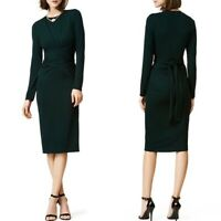 Issa London Womens Dark Green Long Sleeve Waist Tie Full Wrap Midi Dress Size 6