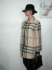 Genuine Burberry Wool Beige Oatmeal Black Iconic Tartan Check Jacket Coat 14 -16