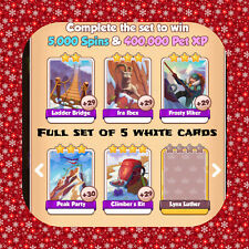 Coin Master Full Set Of Mountain Climbers (X5 White Cards) Fast Sending