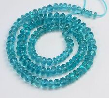 Neon Blue Apatite Plain Rondelle  Beads 17 inch strand