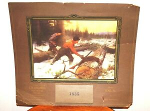 Antique 1935 PHILIP GOODWIN A WELCOME OPPORTUNITY Unused Hunting Calendar