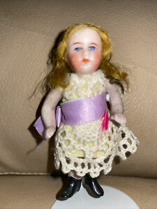 """Antique Blonde German All-Bisque ~ 3"""" MIGNONETTE DOLL Blue Eyes & Wire Jointed"""