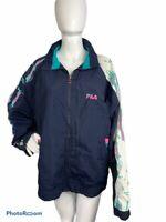 VTG 90s Fila Mens XL Graphic Print Neon Blue Pink Full Zip Windbreaker Jacket