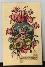 Fröhliche Pfingsten AK Postkarte um 1940 Kapelle Blumen Glanzbild Glitter WK