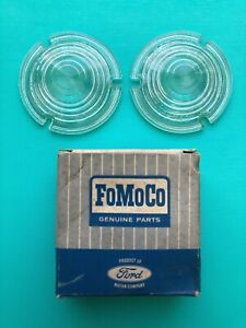 NOS 1959 FORD GALAXIE FAIRLANE SKYLINER 2pc GLASS PARKING LAMP LENS B9AF-13208-A