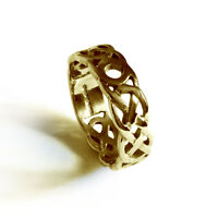 4mm 9ct Yellow Gold Celtic Weave Wedding Rings Heavy 2.9g UK HM 375 Bands G-Q