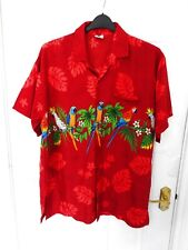 """RIMA Size L Red Multi Parrot Print Hawaiian Shirt Button Up 25"""" pit to pit Mens"""