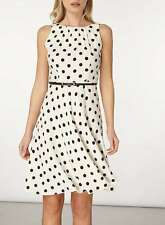 Dorothy Perkins Billie & Blossom Mono Spot Belted Dress Size 16 Uk BNWT White