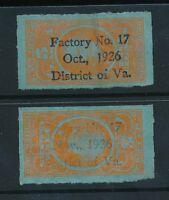 TOBACCO DUTY 1926 REVENUES...VIRGINIA FACTORY 17...OCT + NOV OVERPRINTS