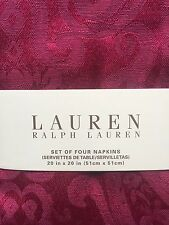 "RALPH LAUREN PAISLEY DRESSAGE RED SET OCCASIONS NAPKINS 20""X20"" CHRISTMAS XMAS"